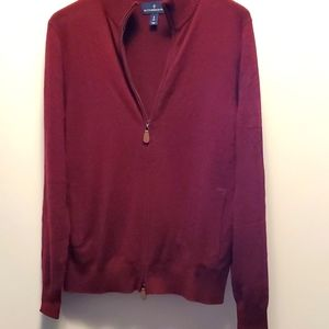Mens S Cashmere Maroon Buttoned Down Zip Cardigan